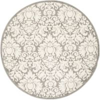 Safavieh Amherst Medallion 9-Foot Round Indoor/Outdoor Area Rug in Dark Grey/Beige