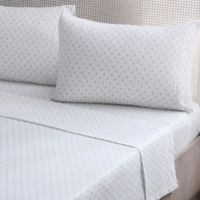 Brielle Fashion Fleur de Lis Cotton Jersey Queen Sheet Set in Blue