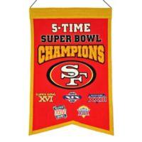 NFL San Francisco 49ers 5X Super Bowl Championship Banner