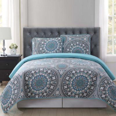 Truly Soft Kalen Quilt Mini Set In Grey Blue Bed Bath