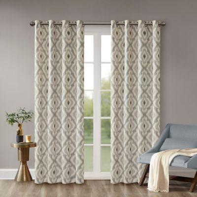 INK IVY Ivy Ankara 95 Inch Window Curtain Panel In Grey