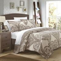 Chic Home Revenna Reversible King Quilt Set in Beige