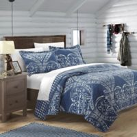 Chic Home Revenna Reversible King Quilt Set in Navy