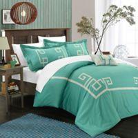 Chic Home Edmonton Queen Duvet Cover Set in Aqua