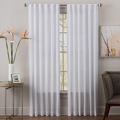 Mae 84 Inch Sheer Rod Pocket Back Tab Window Curtain In White