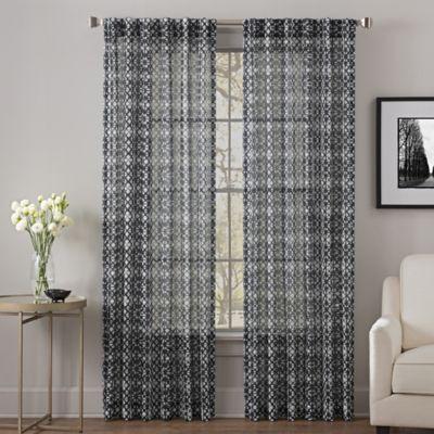 Exceptional Alder 95 Inch Rod Pocket/Back Tab Sheer Window Curtain Panel In Black/
