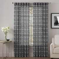 Alder 63-Inch Rod Pocket/Back Tab Sheer Window Curtain Panel in Black/White
