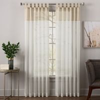 Zelda 95-Inch Tab Top Sheer Window Curtain Panel in Linen