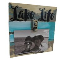 "Sweet Bird & Co. ""Lake Life"" 4-Inch x 6-Inch Wooden Clip Frame"