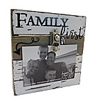 "Sweet Bird & Co. ""Family First"" 4-Inch x 6-Inch Wooden Clip Frame"