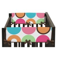 Sweet Jojo Designs Deco Dot Side Crib Rail Covers in Hot Pink/White (Set of 2)