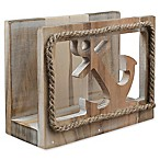 Thirstystone® Anchor Acacia Wood Napkin Holder in Silver