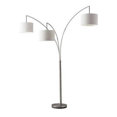 adesso trinity arc floor lamp in brushed steel