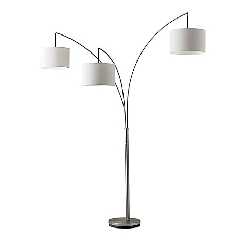 Adesso Trinity Arc Floor Lamp In Brushed Steel Bed Bath