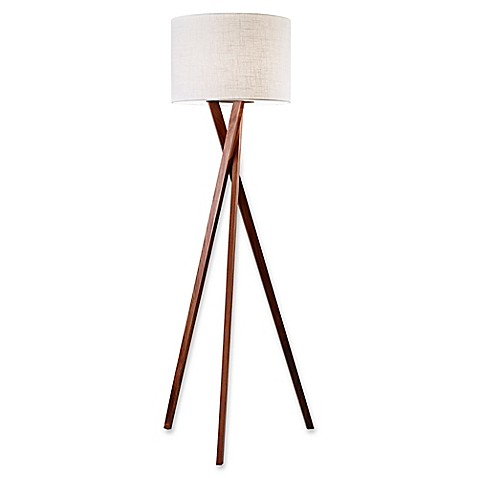image of Adesso Brooklyn Floor Lamp in Walnut