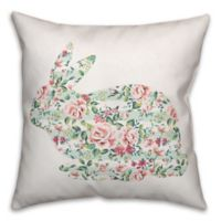 Designs Direct Floral Tranquil Rabbit Square Throw Pillow in Mint/Pink