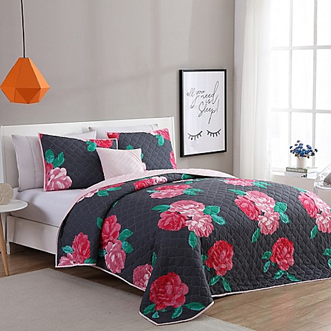 image of VCNY Home Rosemary Quilt Set in Charcoal/Rose