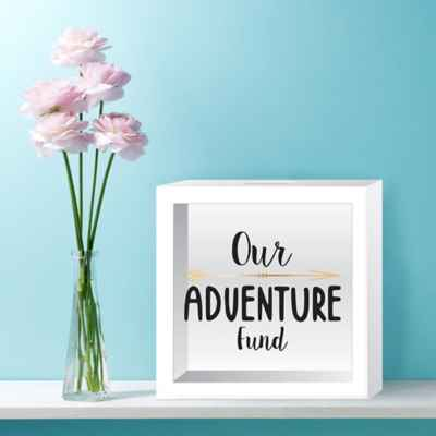 """Our Adventure Fund"" Wood Bank in White"