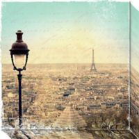 Eiffel Landscape Letter Blue I Canvas Wall Art