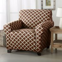 Great Bay Home Brenna Strapless Chair Slipcover in Chocolate
