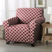 Great Bay Home Brenna Strapless Chair Slipcover in Burgundy