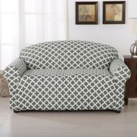 Great Bay Home Brenna Strapless Loveseat Slipcover in Charcoal