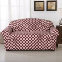 Great Bay Home Brenna Strapless Loveseat Slipcover in Burgundy