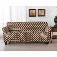 Great Bay Home Brenna Strapless Sofa Slipcover in Chocolate