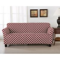 Great Bay Home Brenna Strapless Sofa Slipcover in Burgundy