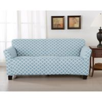 Great Bay Home Brenna Strapless Sofa Slipcover in Blue