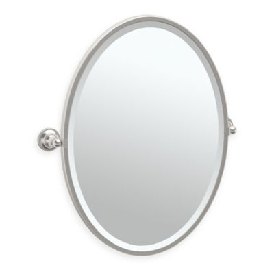 GatcoR Tiara 275 Inch X 2425 Oval Framed Mirror In Satin Nickel