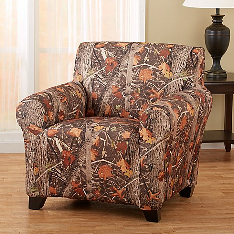 Great bay home kings strapless slipcover chair in camo for King furniture slipcovers