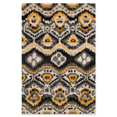 Safavieh Tibetan 5-Foot 1-Inch x 7-Foot 6-Inch Shag - Buy Black/Gold Area Rugs From Bed Bath & Beyond