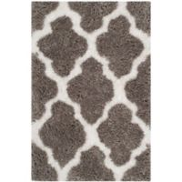 Safavieh Barcelona 3-Foot x 5-Foot Shag Area Rug in Silver/Ivory