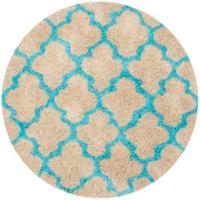 Safavieh Barcelona 5-Foot Round Shag Area Rug in Cream/Blue