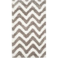 Safavieh Barcelona 3-Foot x 5-Foot Shag Rug in Ivory/Silver