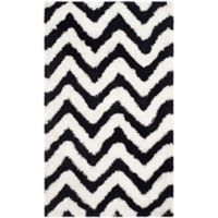 Safavieh Barcelona 3-Foot x 5-Foot Shag Rug in Ivory/Black