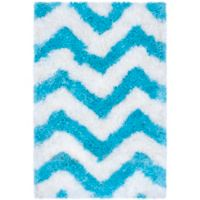 Safavieh Barcelona 3-Foot x 5-Foot Shag Rug in Ivory/Blue