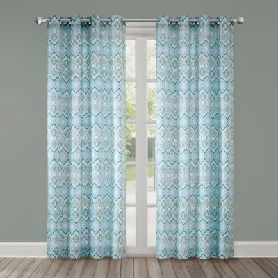 Echo Triana 84 Inch Grommet Top Window Curtain Panel In Green