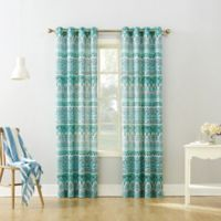 Neva 108-Inch Grommet Top Window Curtain Panel in Aqua