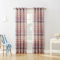 Neva 63-Inch Grommet Top Window Curtain Panel in Coral