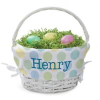 Polka Dots Easter Basket in Green