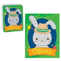 Bunny Puzzle and Tin in Blue