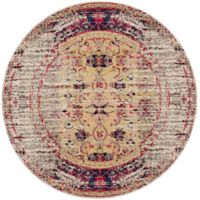 Safavieh Monaco Timeo 5-Foot Round Area Rug in Ivory/Pink