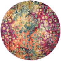 Safavieh Monaco Watercolor 3-Foot Round Area Rug in Pink