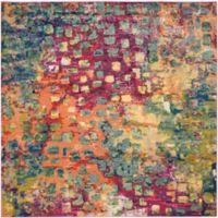 Safavieh Monaco Watercolor 3-Foot Square Area Rug in Pink