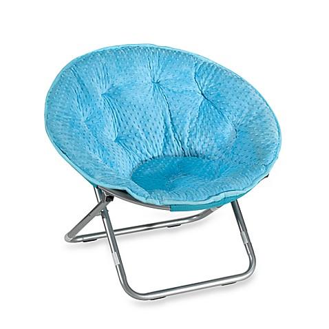 Genial Dotted Plush Saucer Chair   Blue