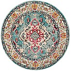 Safavieh Monaco Vintage Bohemian 5-Foot Round Area Rug in Light Blue/Fuchsia