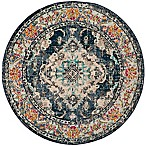 Safavieh Monaco Vintage Bohemian 6-Foot 7-Inch Round Area Rug in Navy/Light Blue