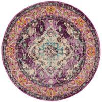 Safavieh Monaco Vintage Bohemian 6-Foot 7-Inch Round Area Rug in Violet/Light Blue